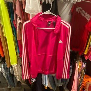pink and white adidas jacket